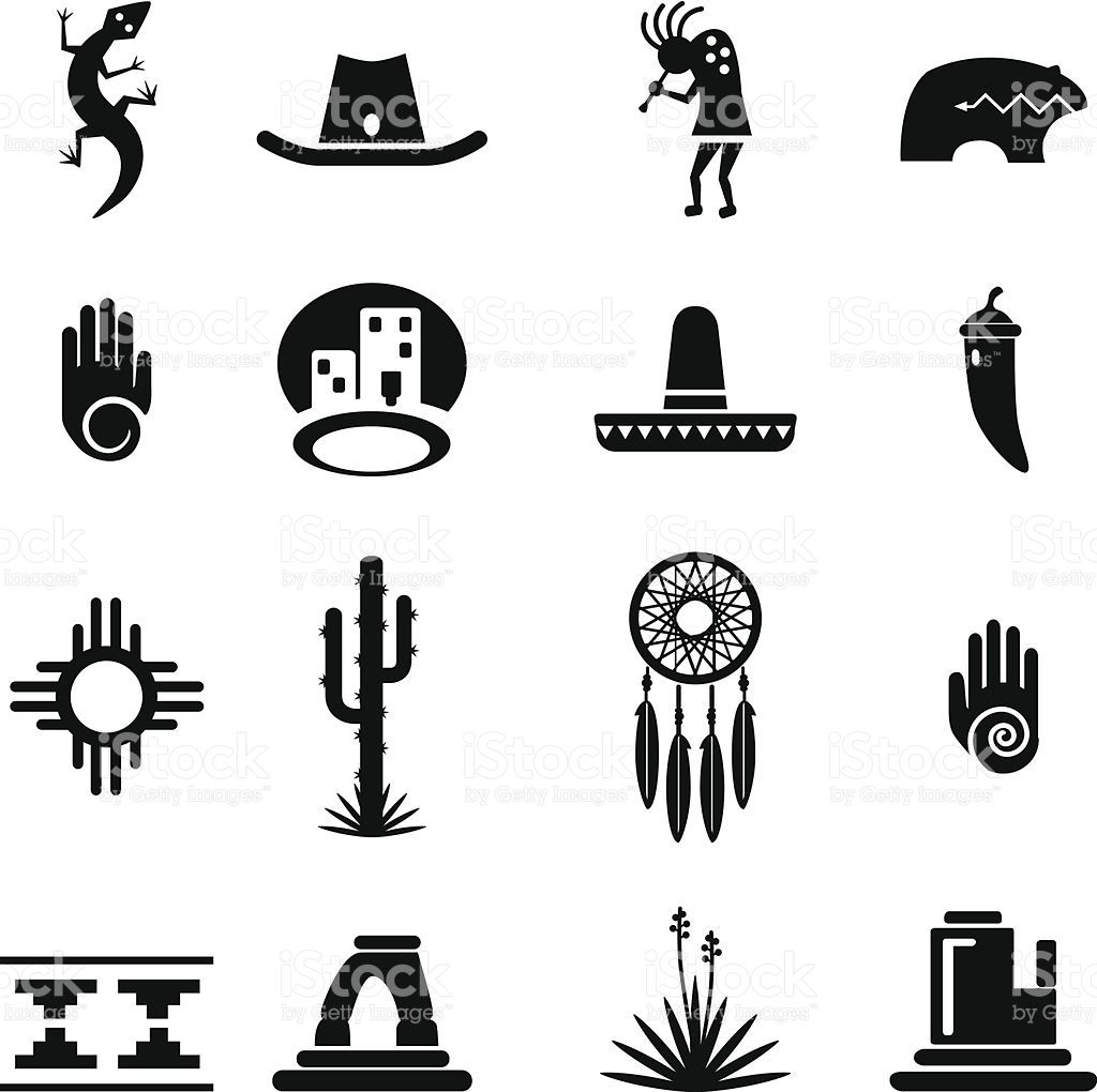 Set Of Southwestern Desert Icons Each Icon Is Grouped And