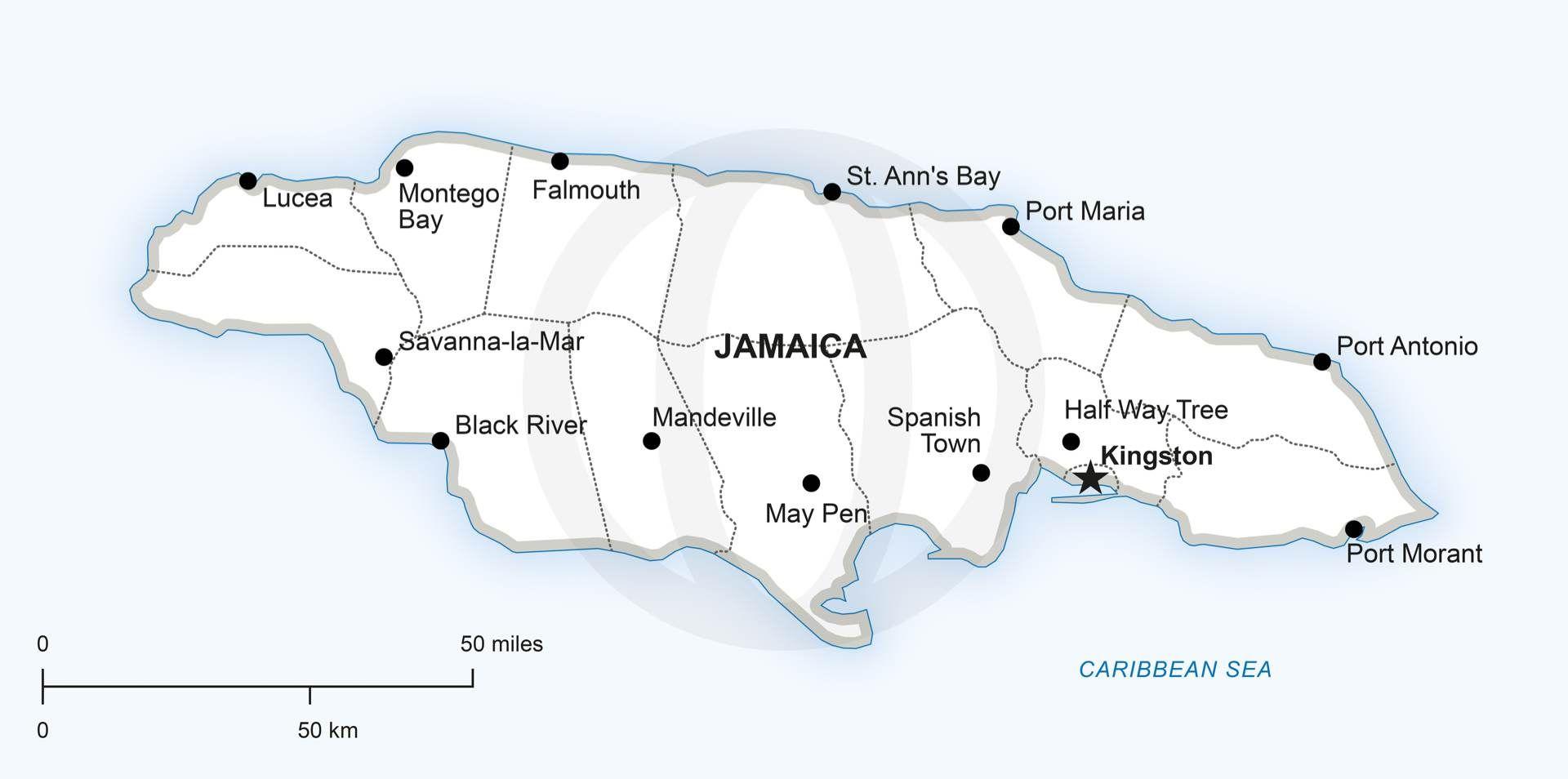 Vector Map Of Jamaica Political