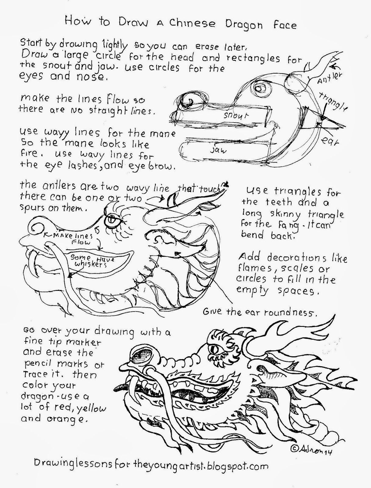 How To Draw Worksheets For The Young Artist How To Draw The Head Of A Chinese Dragon Free