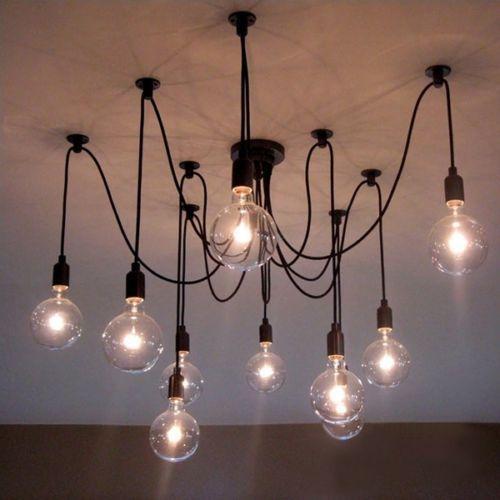 Vintage Retro Loft Ajule Diy Spider Edison Bulb Black Chandeliers Hanging Pendant Lamp Light Fixtures