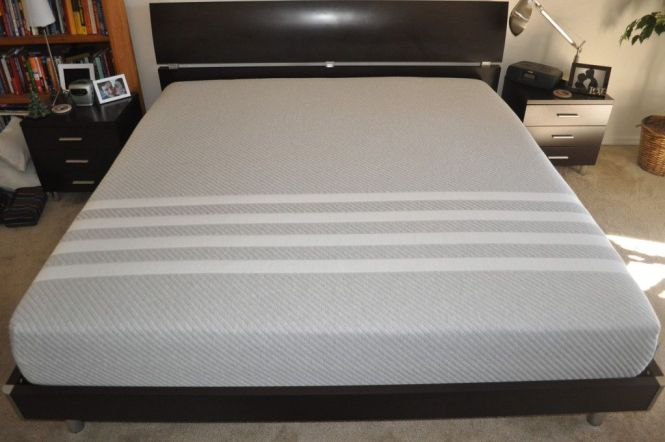 King Sized Bellmar Platform Bed With Our Leesa Mattress On Top