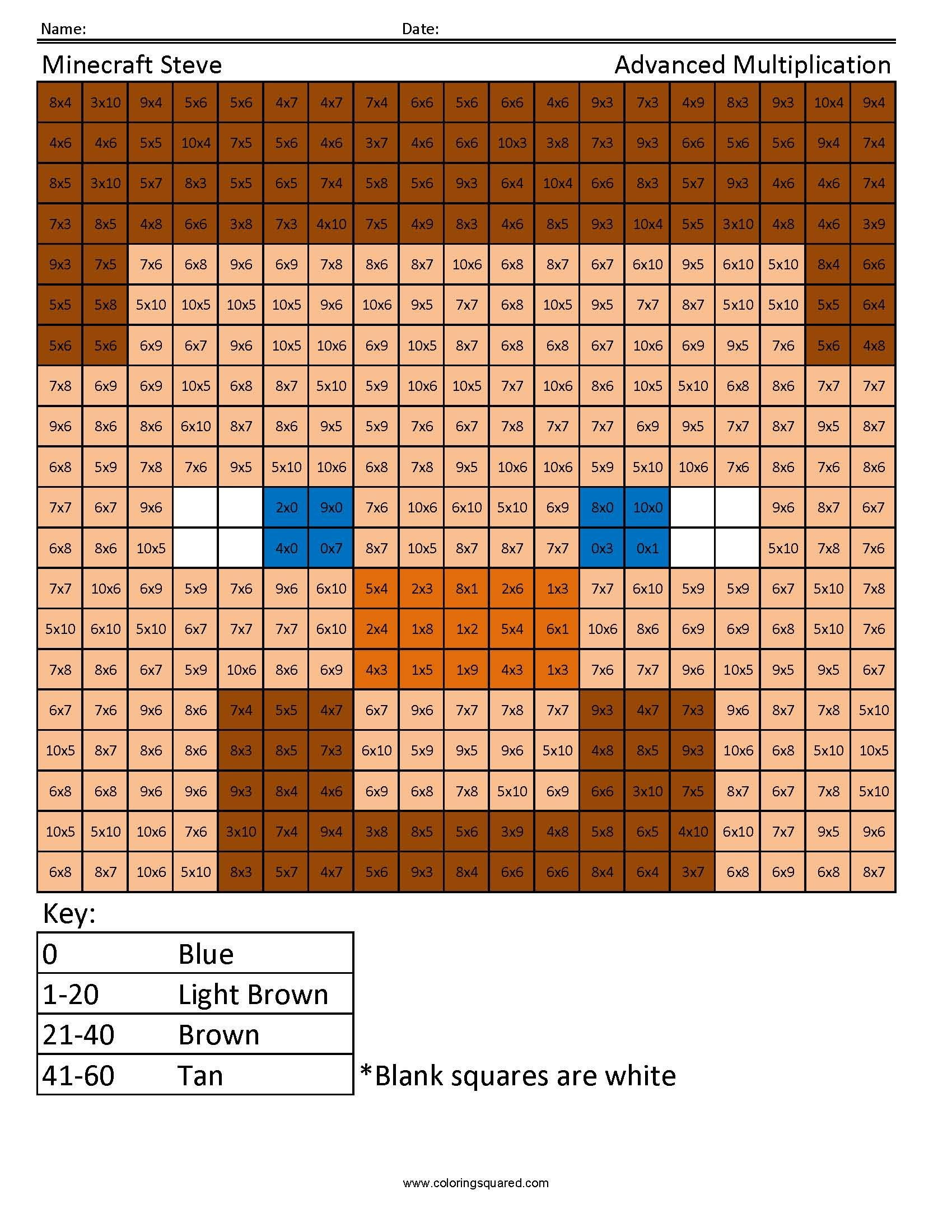 Coloring Squared Would Like You To Enjoy These Free Minecraft Multiplication And Division
