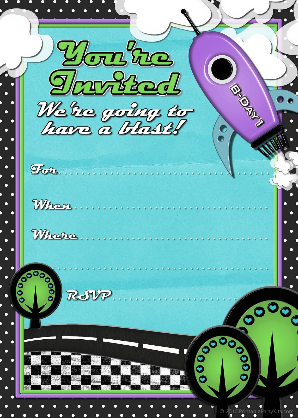 Free Printable Party Invitations Rocket Ship Birthday