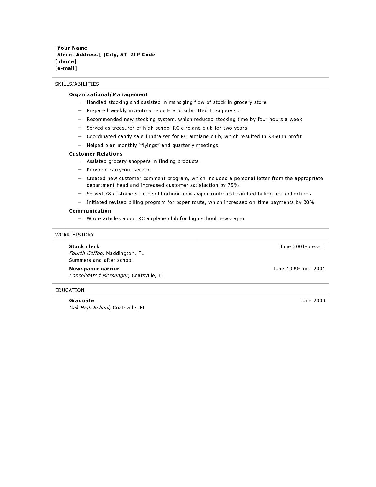 Sample Resume For Graduate School