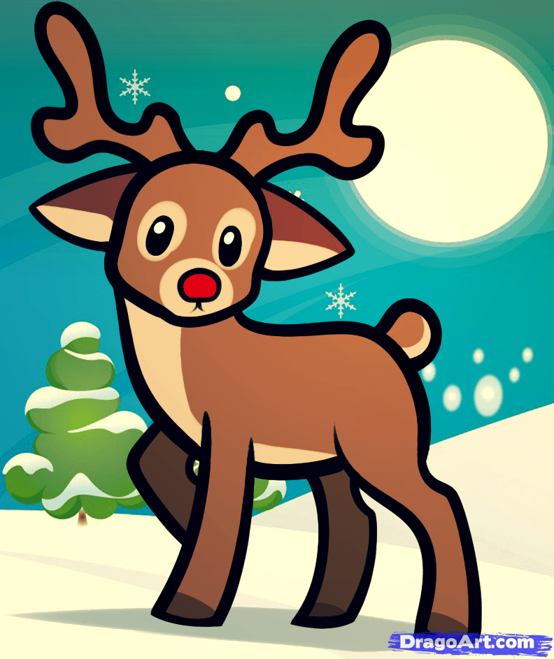 how to draw a reindeer for kids collection Pinterest