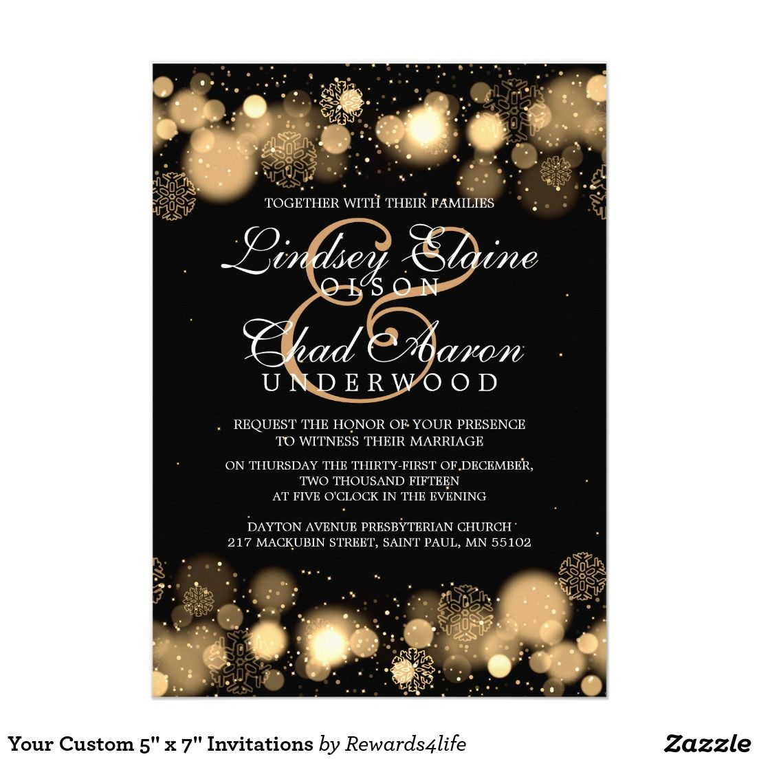 New Years Eve Wedding Invitations THE Big Day a NYE