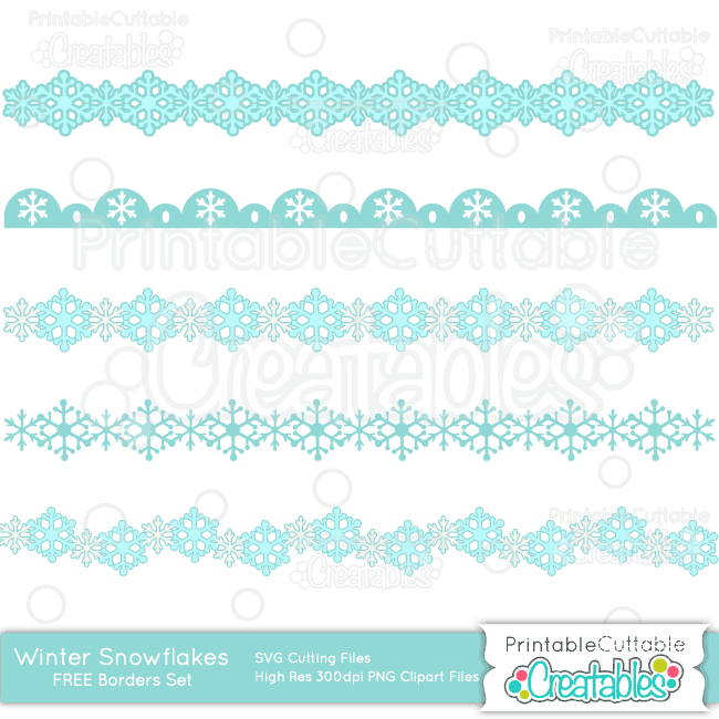 Download Winter Snowflakes Borders Free SVG Cut Files & Clipart Set ...