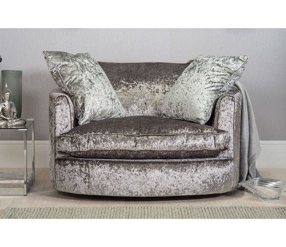 Marilyn Large Crushed Velvet Cuddle Twister Chair Silver Grey