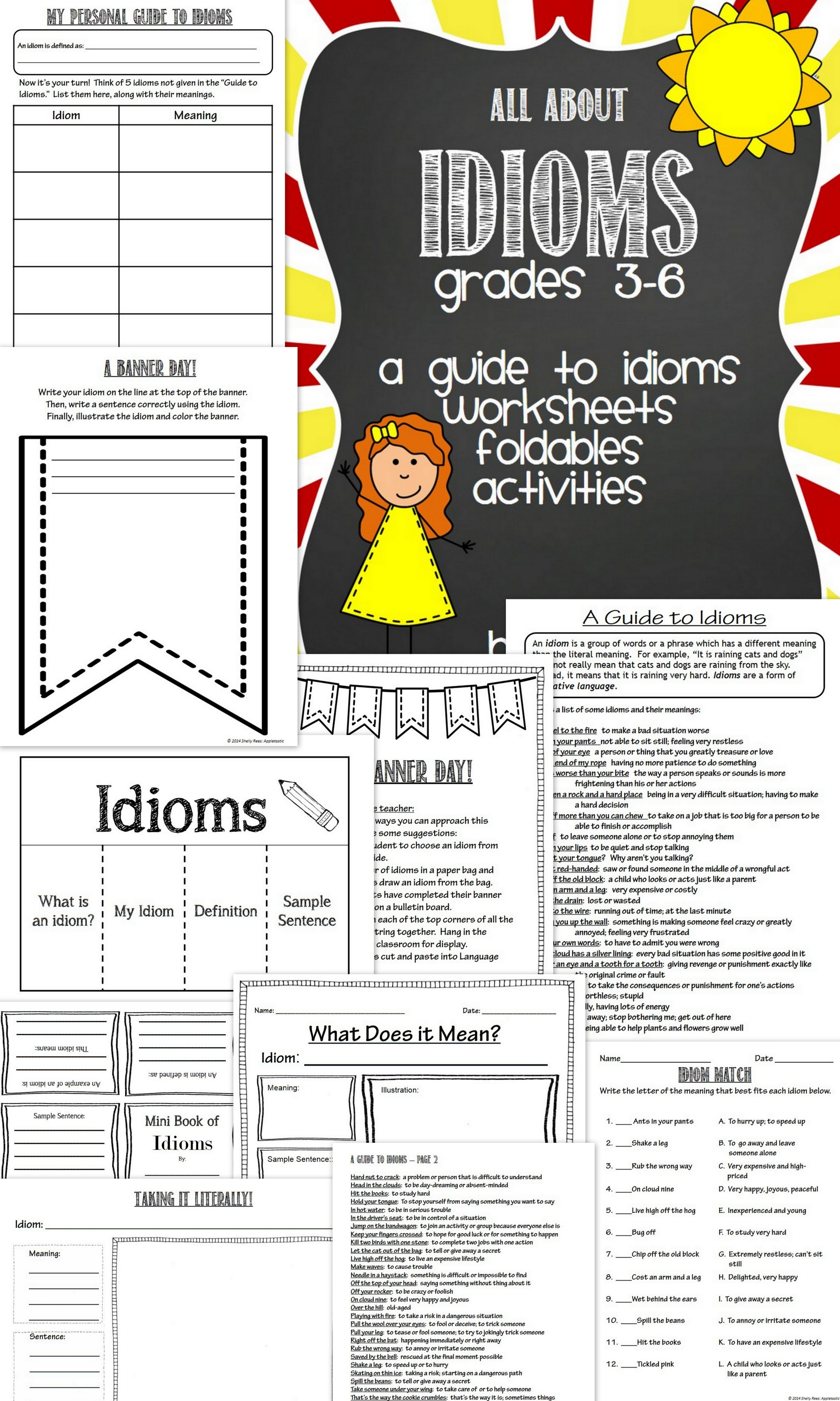 Idioms Worksheets Foldables Student Guide Amp Activities