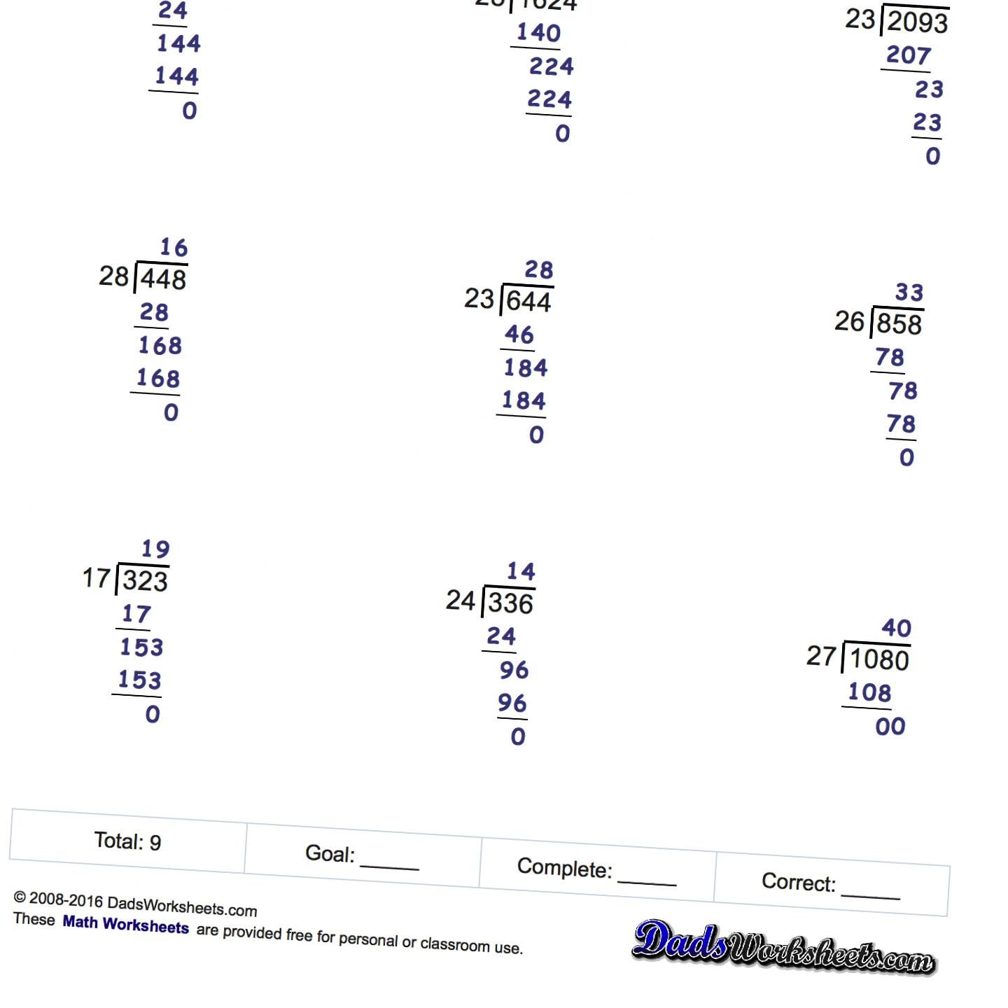 Long Division Worksheets Printable With Answer Keys That Show All The Work Great For Student