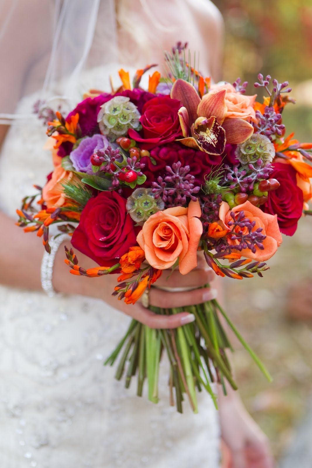 Bright fall colors Wedding Flowers Playful and