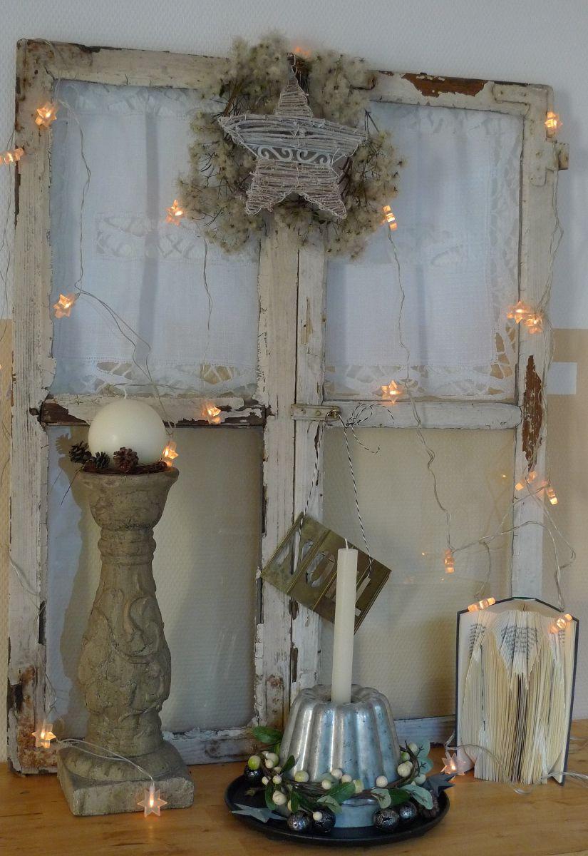 Shabby-Fenster weihnachtlich Winterdeko Pinterest