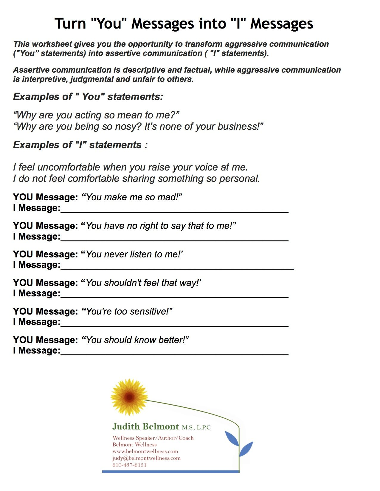 Teens Therapy Responsibility Worksheet