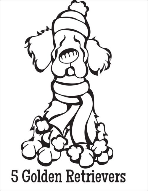 free coloring page download … 5 golden retrievers from the