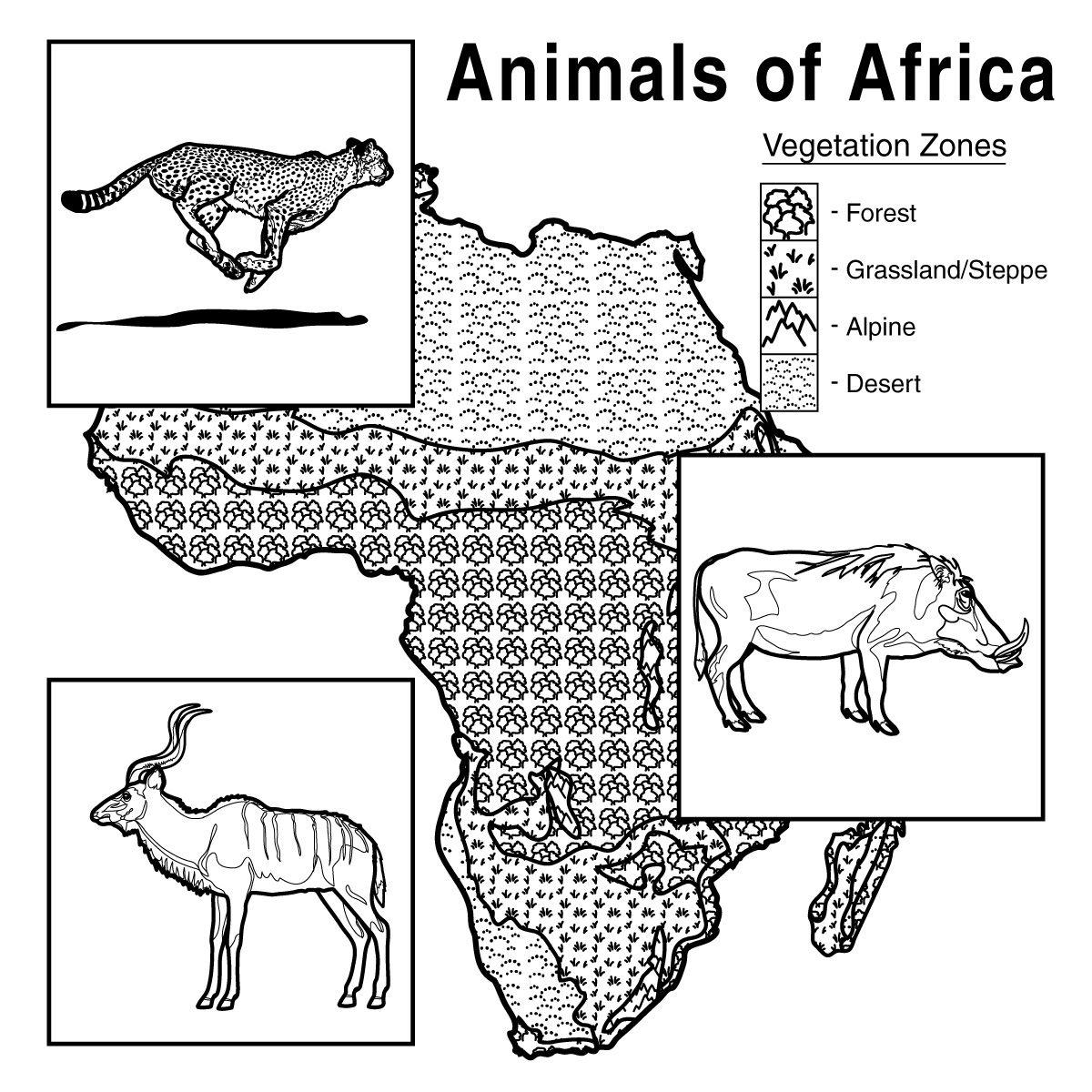 African Animals With Habitat Vegetation Zone Chart