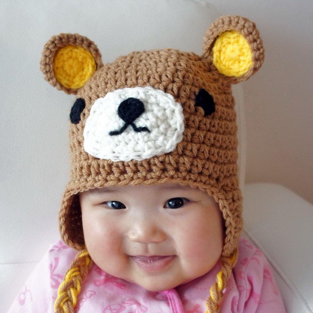 relax bear hat, rilakkuma, crochet baby hat, animal baby hat