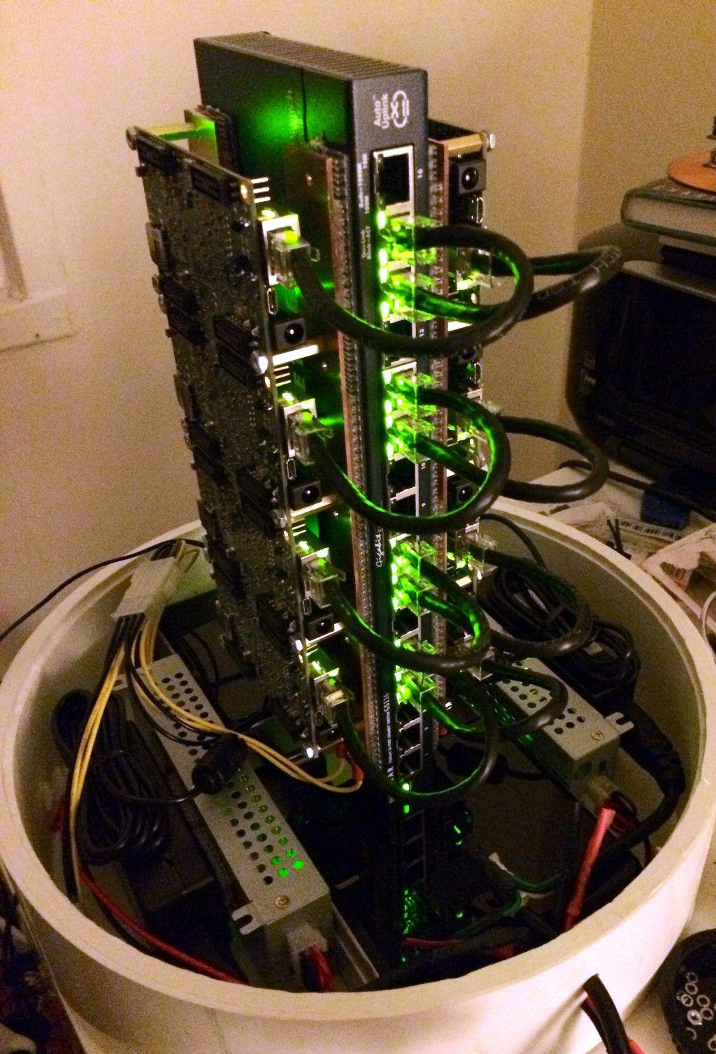 Home made super computer using Apple Mac Pro (bin) as