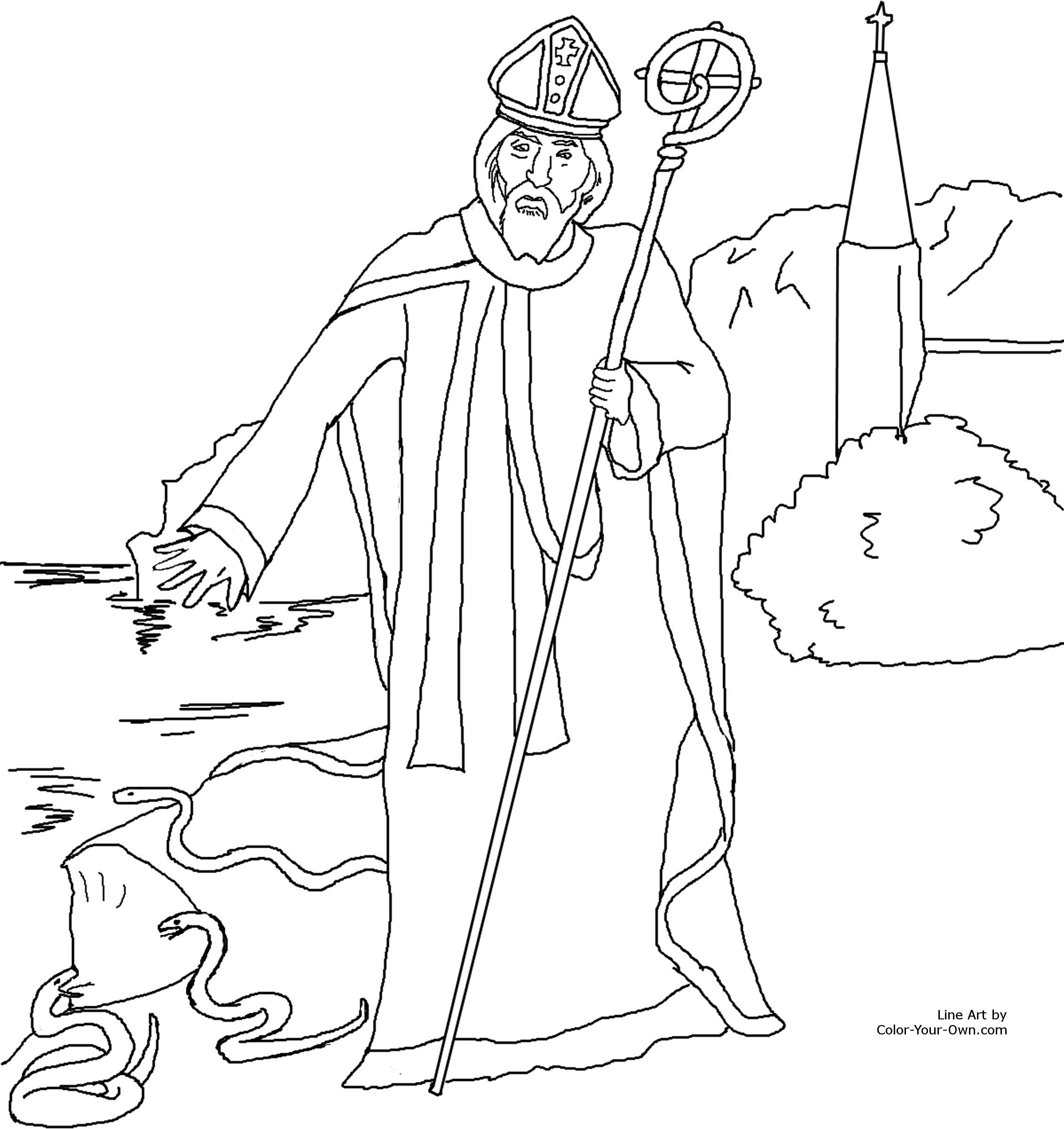 Saint Patrick Driving Out The Snakes Of Ireland Catholic Coloring Page Feast Day Is March 17th