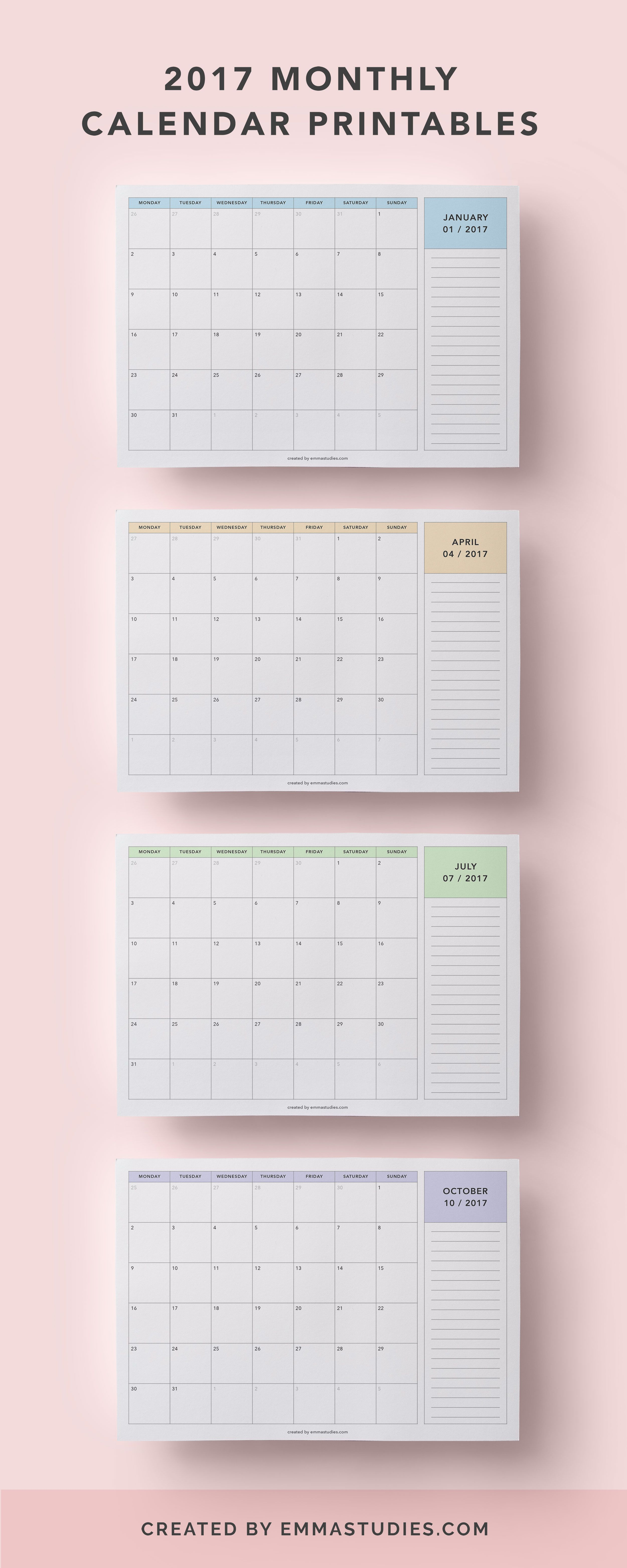Monthly Calendar Printables Free To Download By