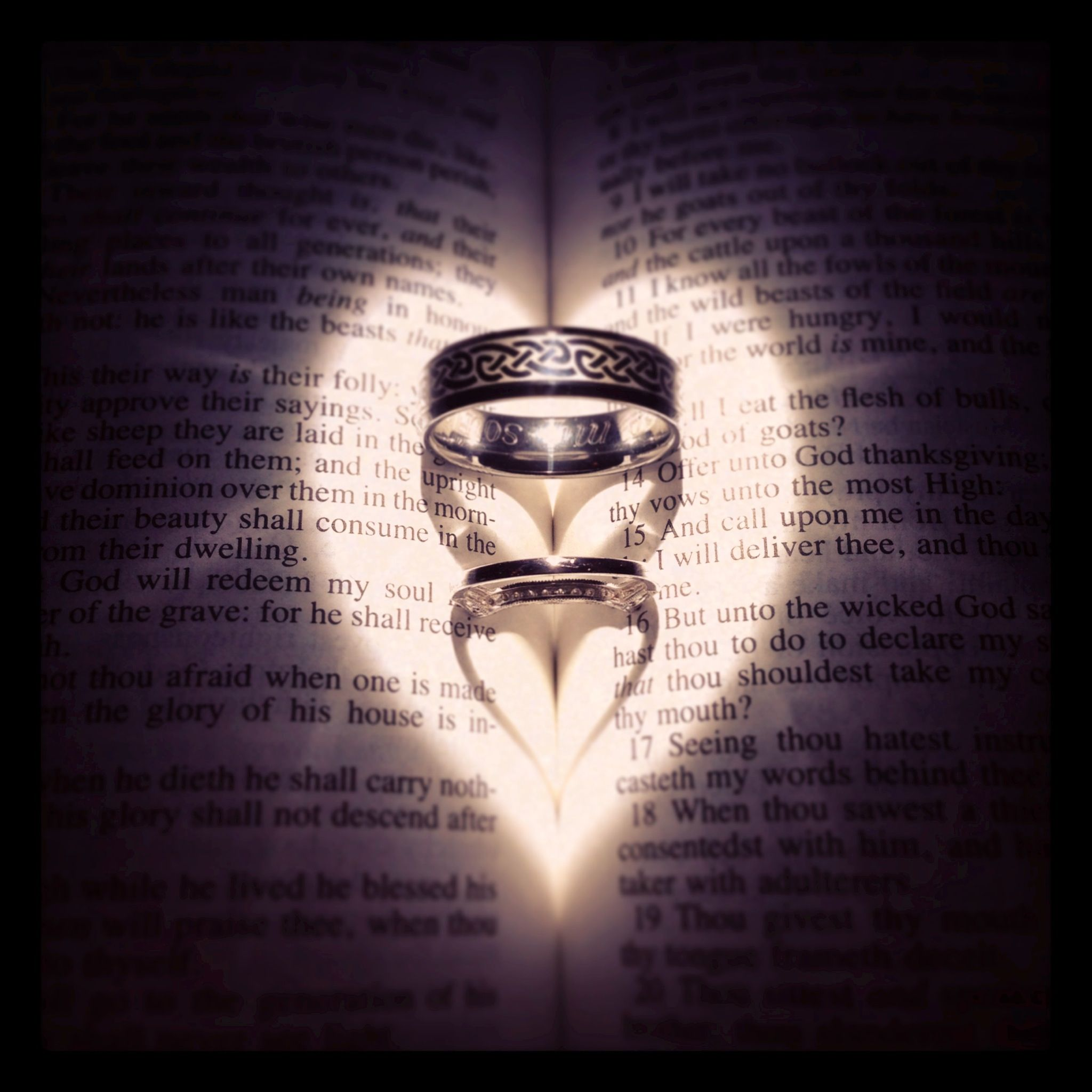 Wedding rings in bible! I used a flashlight for the light