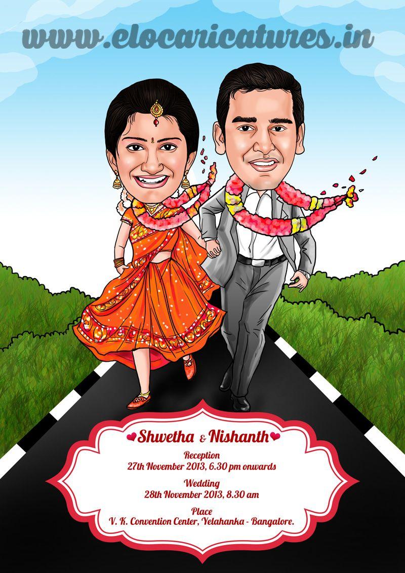 Indian wedding couple caricature! Kalyana Samayal Saadham