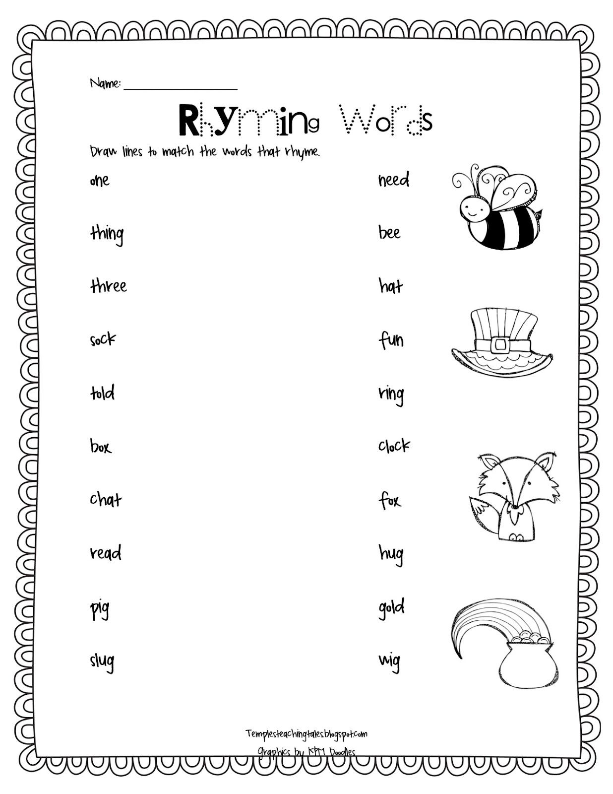 Rhyming Words Match Up Temple S Teaching Tales
