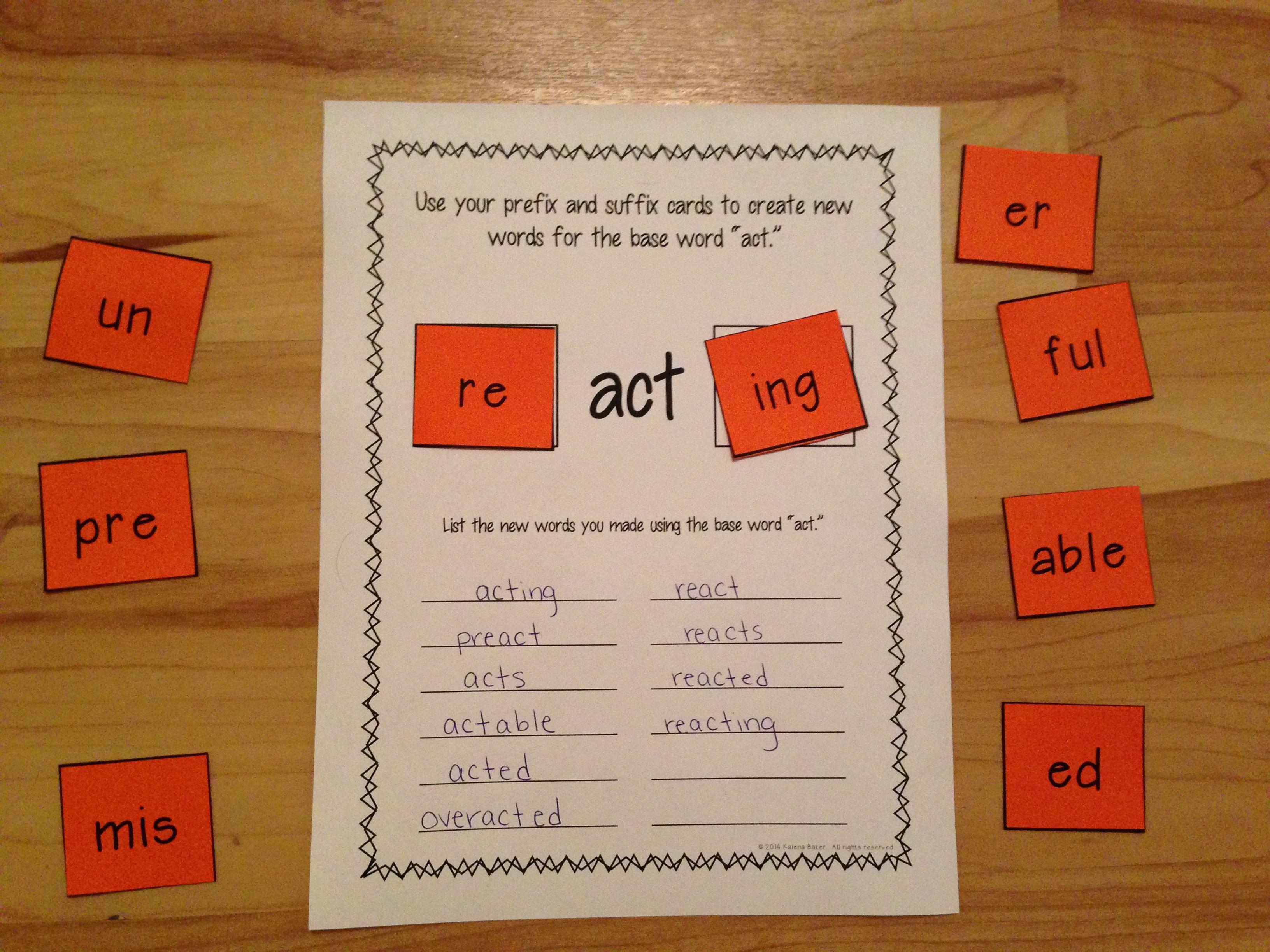 Prefixes And Suffixes Center Activity