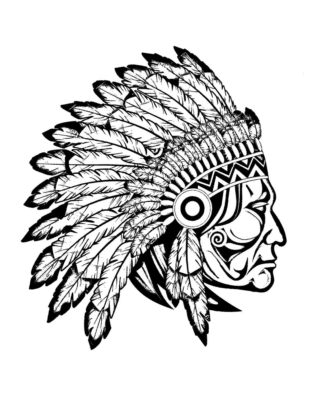 Free Coloring Page Coloring Adult Indian Native Chief