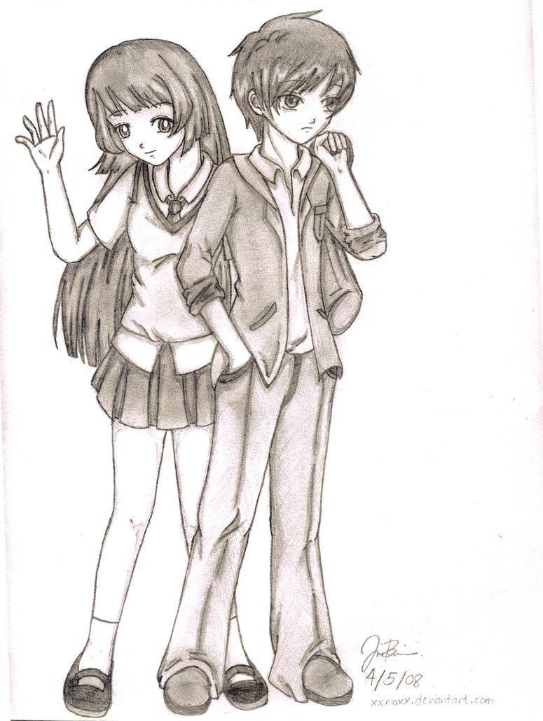 easy anime drawings Random Anime Couple by xxrioxx on