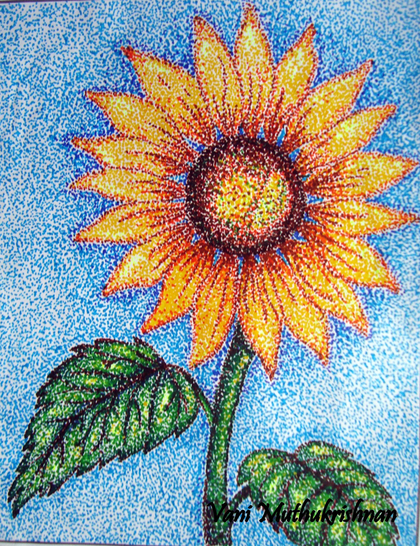 Pointillism Sunflower