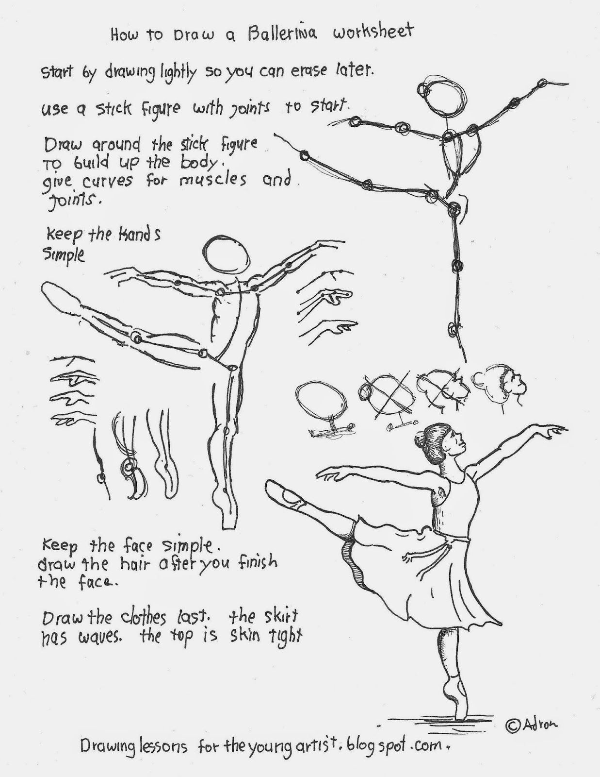 How To Draw A Ballerina Printable Worksheet See More At