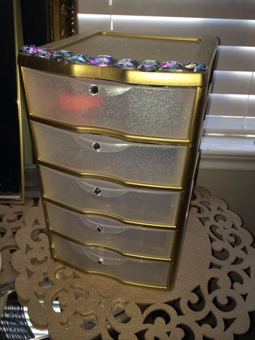Sterilite Plastic Drawer From For About 9 Sprayed Gold And Glitter Krylon Spray Paint