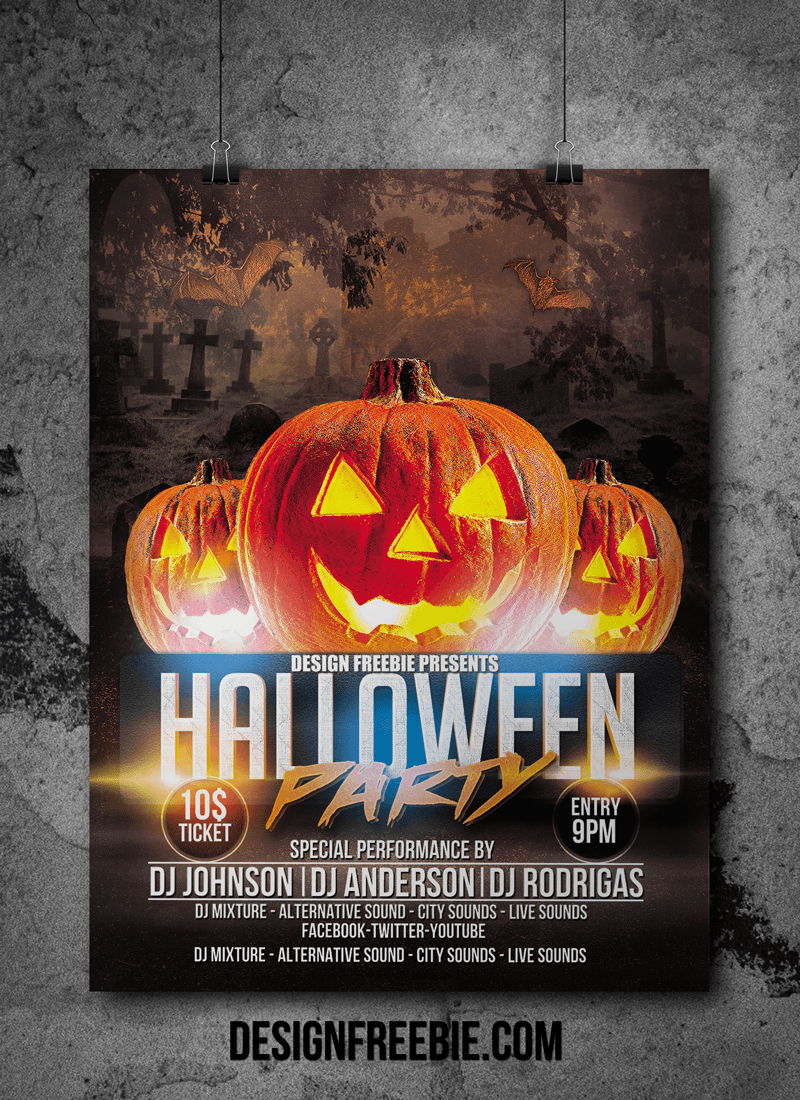 Halloween Party Flyer psd template Free Flyer Design