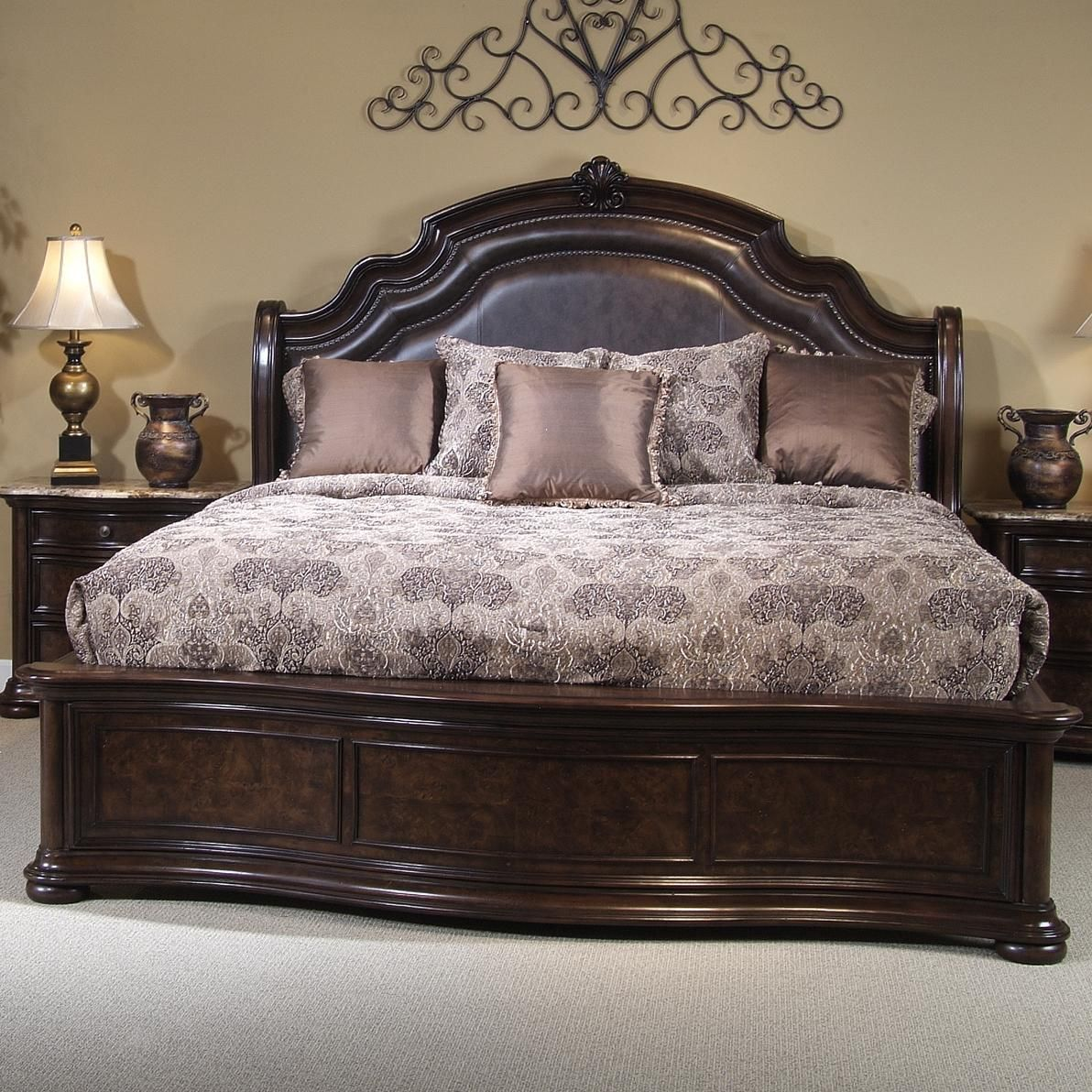 Beautiful King Size Bed Frame Using Brown Leather