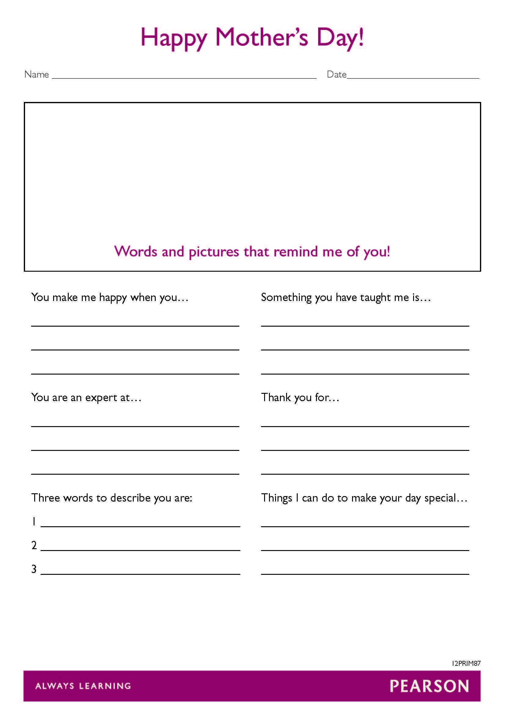 Free Mother S Day Worksheet For Year 3 6 Students