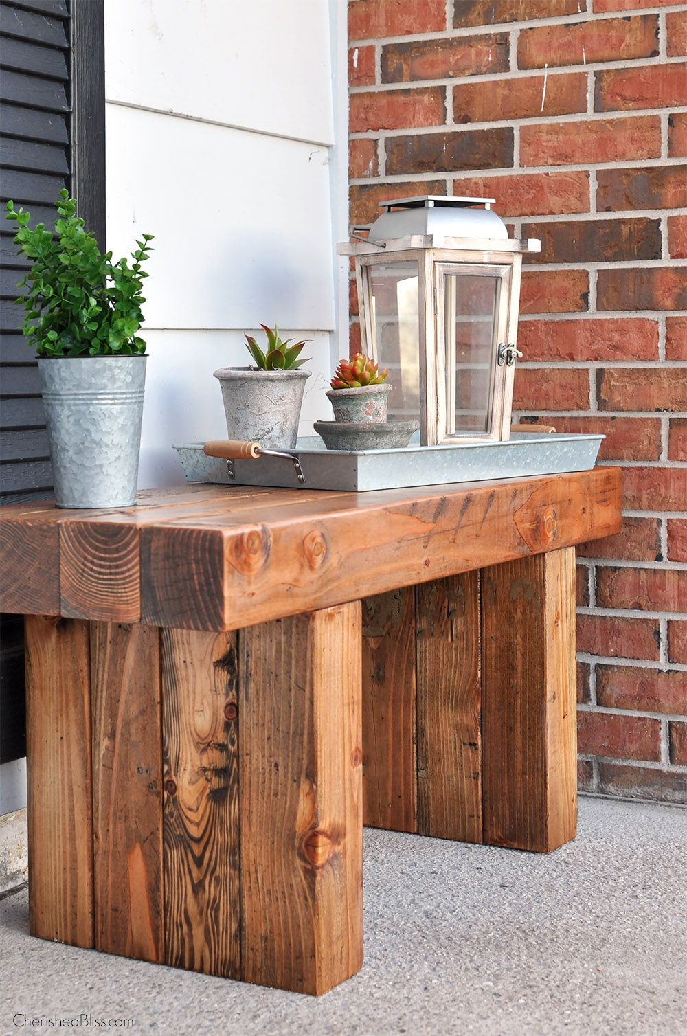 DIY Outdoor Table Bench, Front porch bench and Porch bench