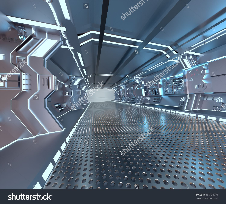 futuristic design spaceship interior with metal floor and