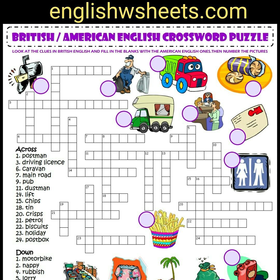 British American English Esl Printable Crossword Puzzle
