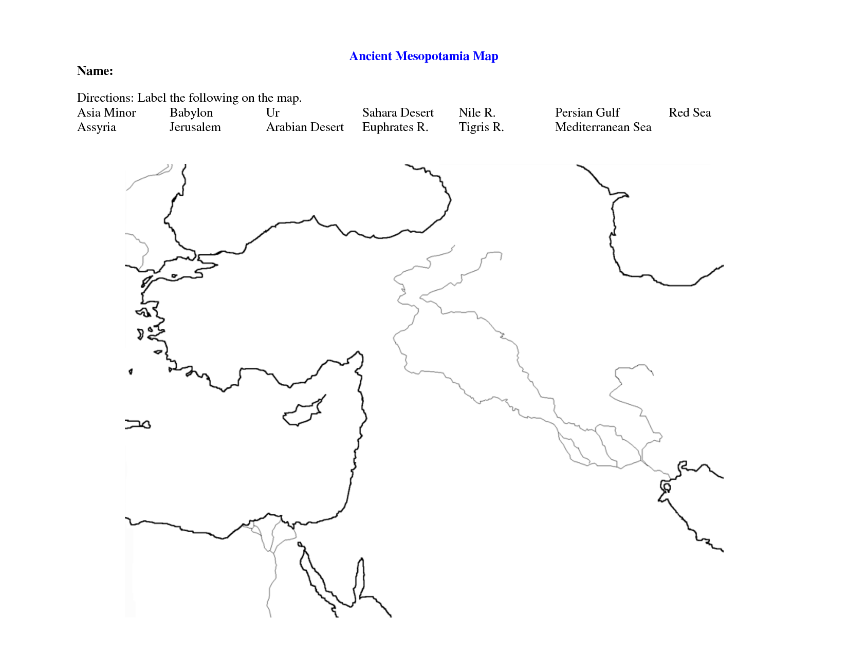Fertile Crescent Map Worksheet