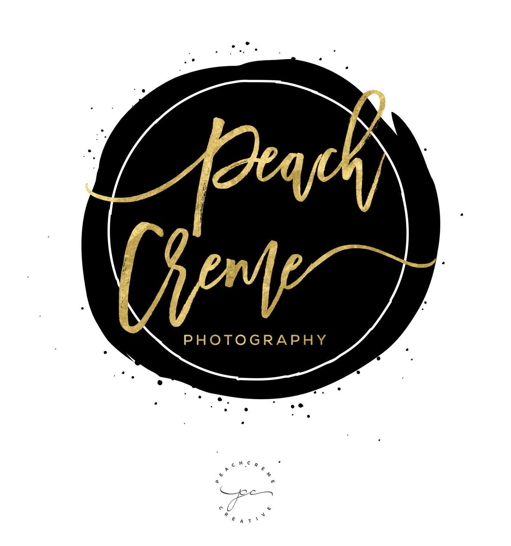 Black Watercolor Logo, Circle Golden Logo Design