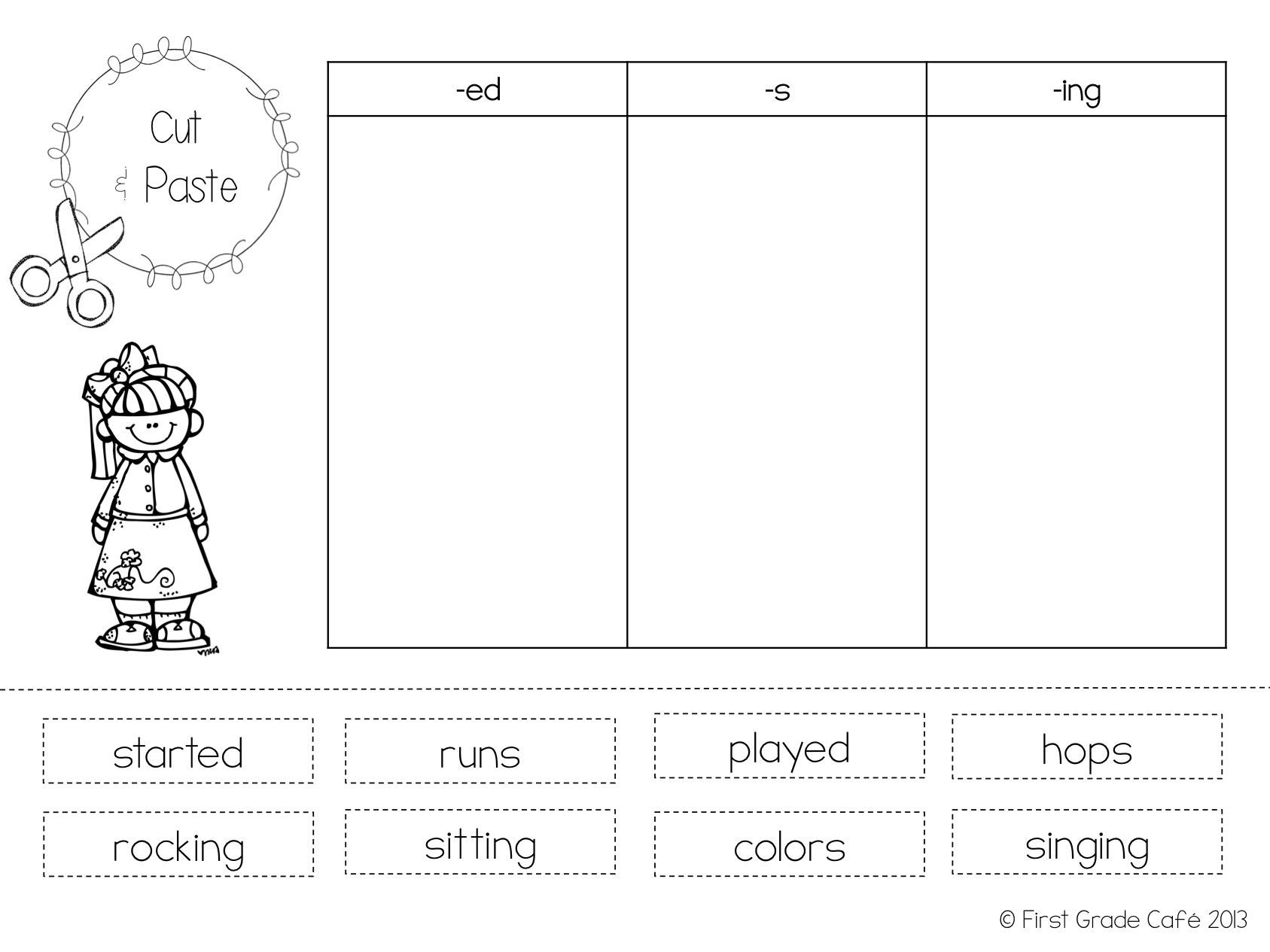 Inflectional Ending Worksheet Cut And Paste