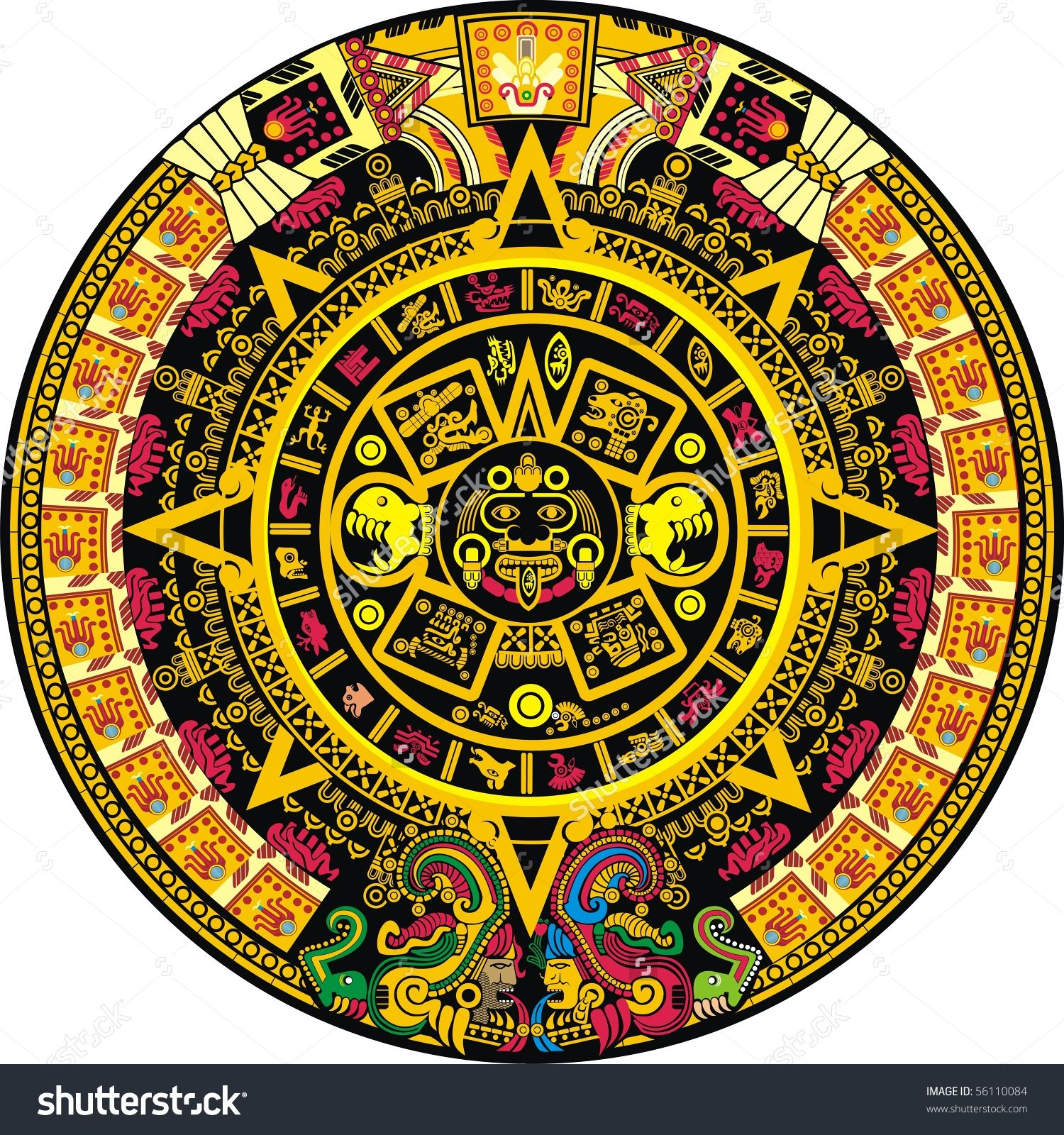 Stock Vector Aztec Calendar Color