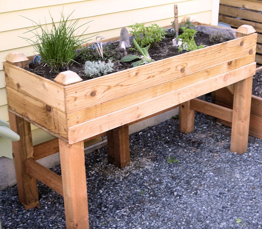 Raised garden bed. I have one on my deck like this one