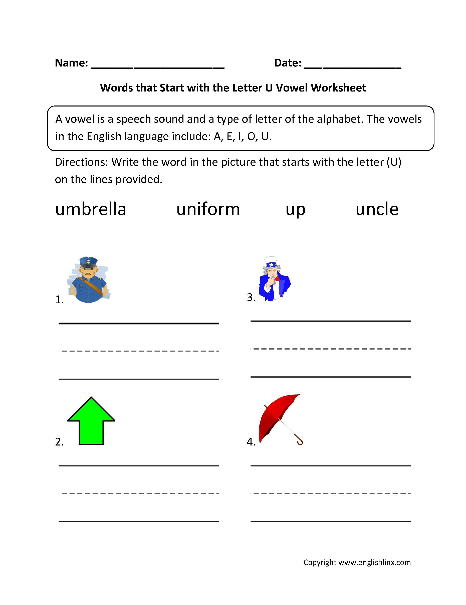 Words Start Letter U Vowel Worksheets