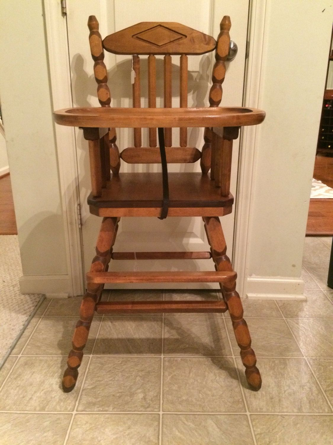 Vintage Wooden High Chair, Jenny Lind, Antique High Chair
