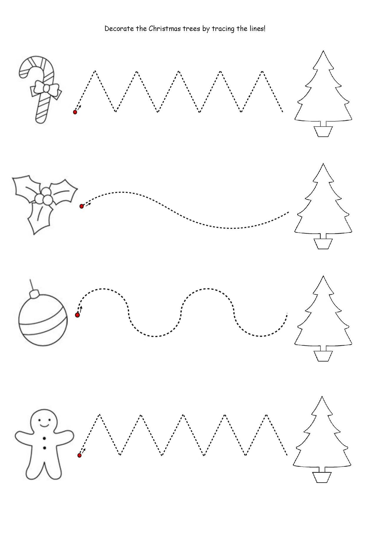 Get The Kids Tracing Lines To Match The Decoration To The
