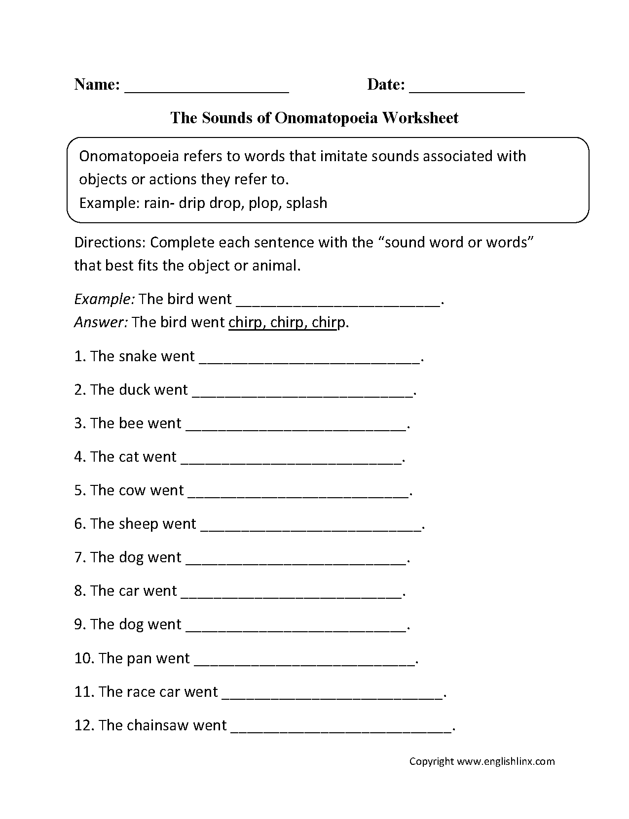 Sounds Of Onomatopoeia Worksheet