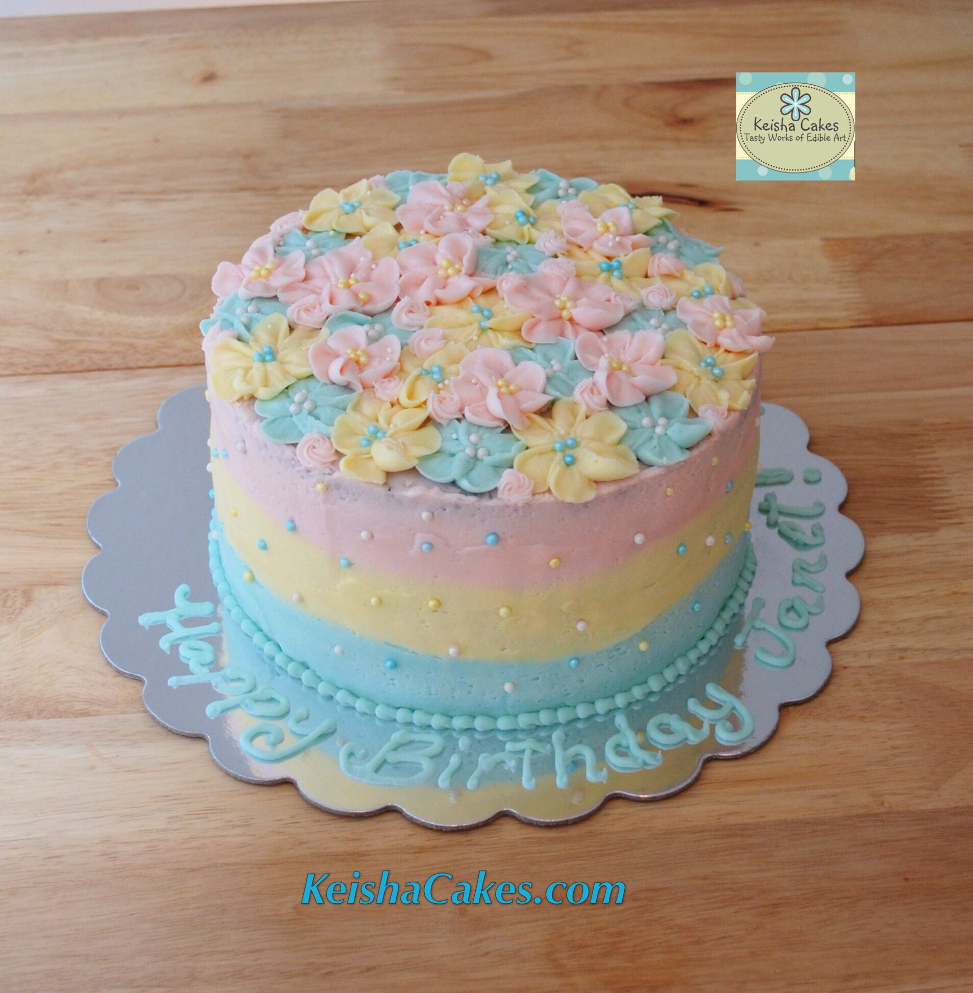 Pastel Frosting Flowers Cake Light Pink Yellow And Baby