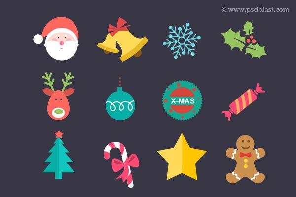 Flat Christmas Icon PSD Photoshop Amp Illustrator