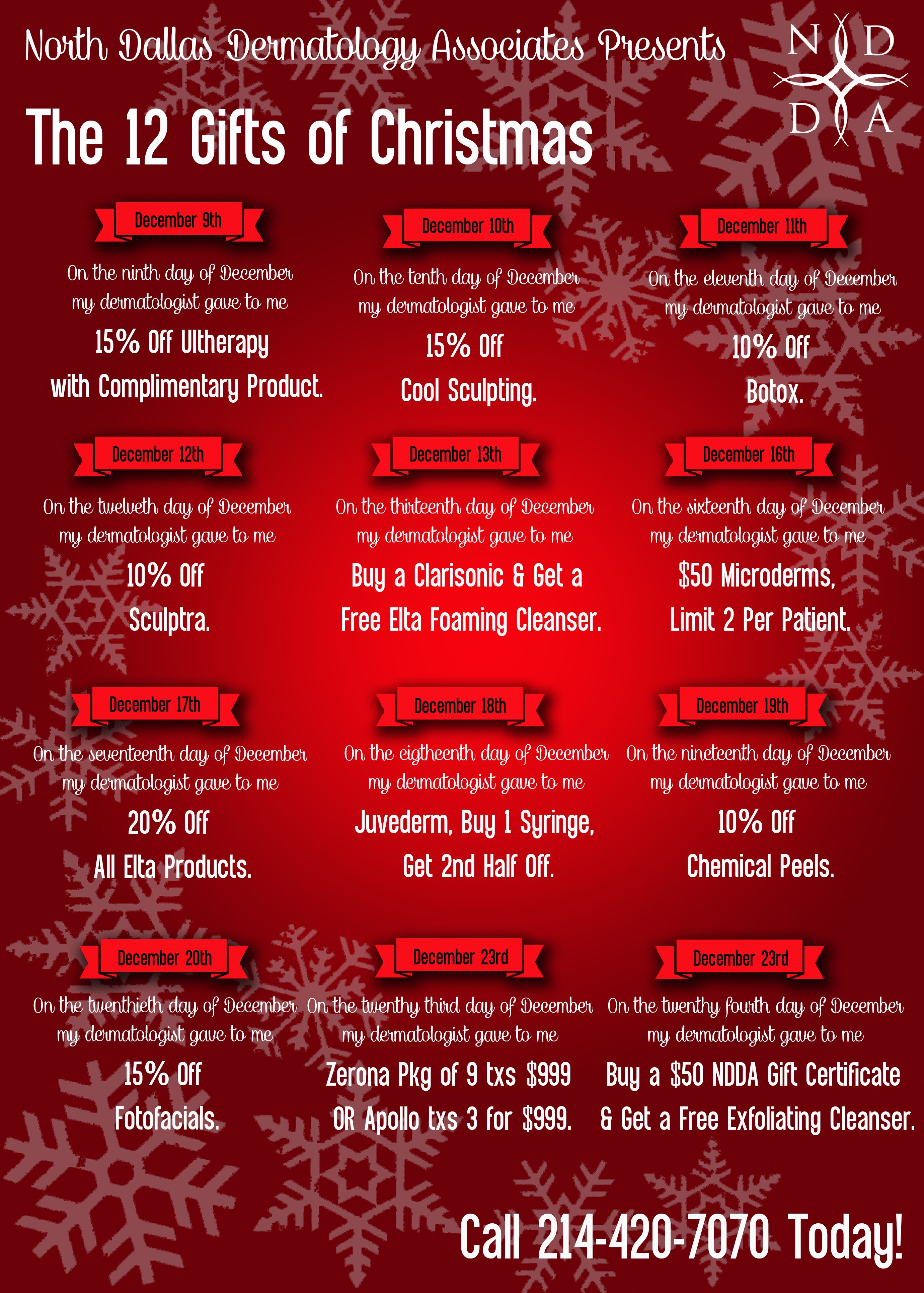 To Take Advantage Of Our 12 Days Of Christmas Promotions